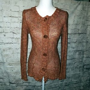 Button front Knit Cardigan Sweater in Rust Brown